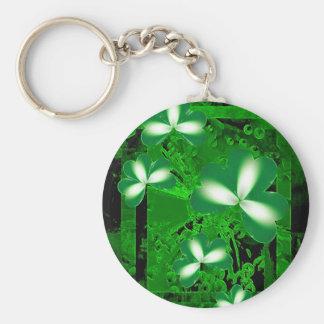 Shamrocks Basic Round Button Key Ring