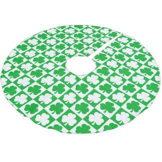 Shamrocks Checkerboard Pattern Irish Christmas Brushed Polyester Tree Skirt