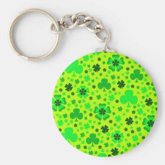 Shamrocks & Clovers Basic Round Button Key Ring