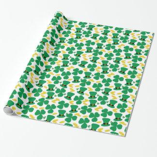 Shamrocks Gold Coins Leprechaun Hat Pattern Wrapping Paper
