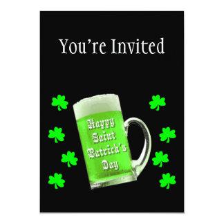 Shamrocks & Green Ale St. Patrick's Day 13 Cm X 18 Cm Invitation Card