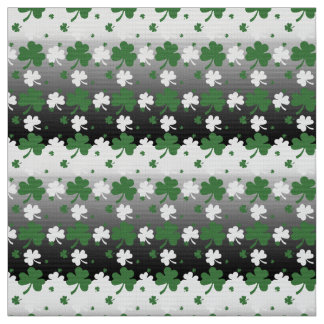 Shamrocks, Green and White on Gradated Field Fabric