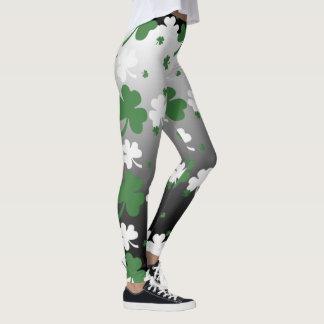 Shamrocks, Green and White on Gradated Field Leggings