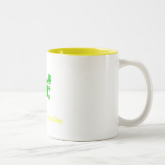 shamrocks, Happy St. Patrick's Day Two-Tone Mug