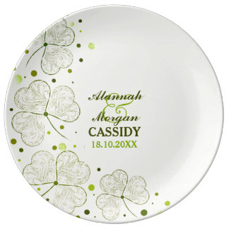 Shamrocks Polka Dots Porcelain Wedding Plate