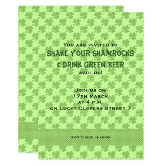 Shamrocks Polka dots St. Patrick's Day Invitation