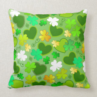 Shamrocks & St. Patrick's Day Hearts Throw Pillow