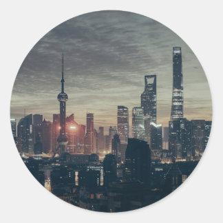 Shanghai by Night Round Sticker