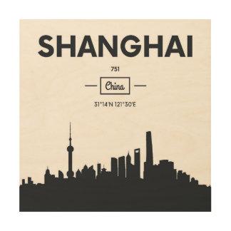Shanghai, China   City Coordinates Wood Wall Decor