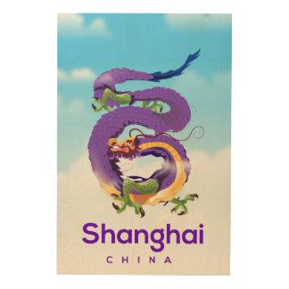 Shanghai China Dragon travel poster