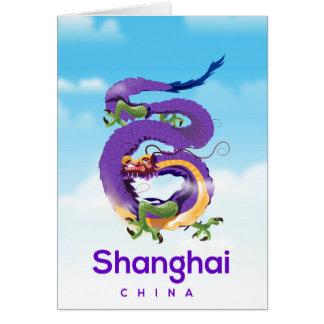 Shanghai China Dragon travel poster Card