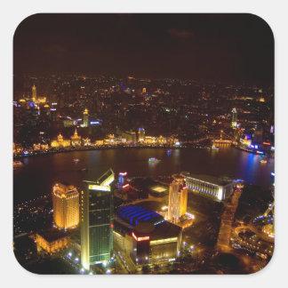 Shanghai China wonderful skyline with modern Square Sticker