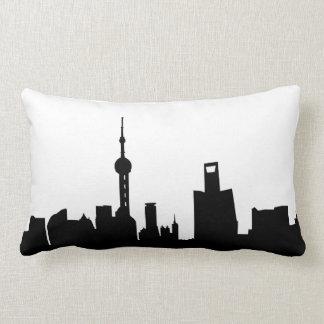 shanghai city skyline silhouette china lumbar cushion