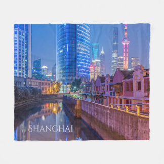 Shanghai Financial District custom fleece blanket
