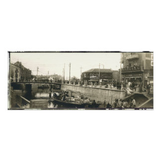 Shanghai Harbor Panorama Print Circa 1928