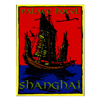 Shanghai Luggage Label Postcard