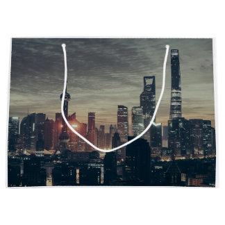 Shanghai Night Skyline Large Gift Bag