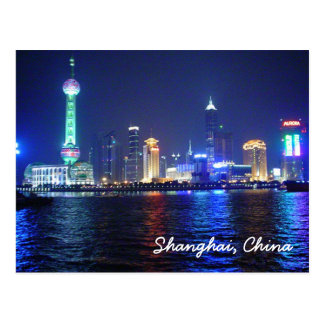 Shanghai Night Time Postcard