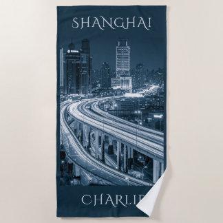 Shanghai Overpass custom name beach towel