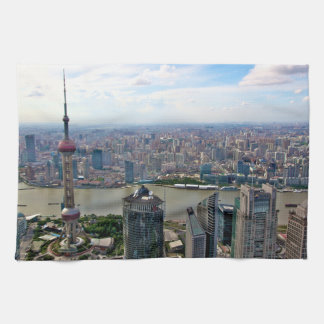 Shanghai Skyline by Day Tea Towel