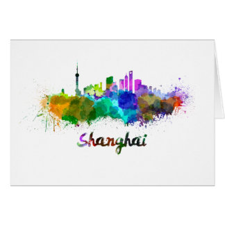Shanghai skyline in watercolor card