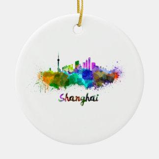 Shanghai skyline in watercolor ceramic ornament