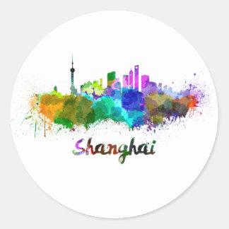 Shanghai skyline in watercolor classic round sticker