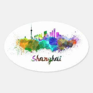 Shanghai skyline in watercolor oval sticker