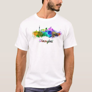 Shanghai skyline in watercolor T-Shirt