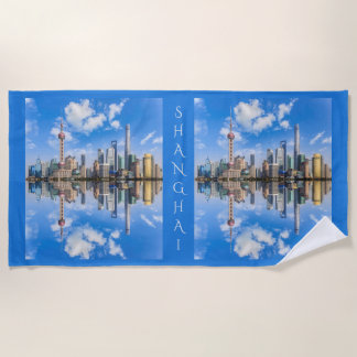 Shanghai Waterfront custom text beach towel