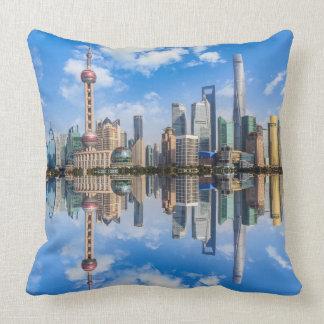 Shanghai Waterfront throw pillows