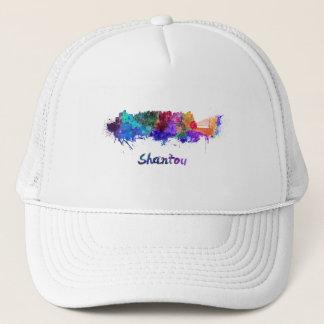 Shantou skyline in watercolor trucker hat