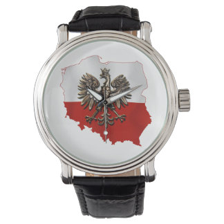 Shape of Poland with polish Flag colors and Eagle. Watch