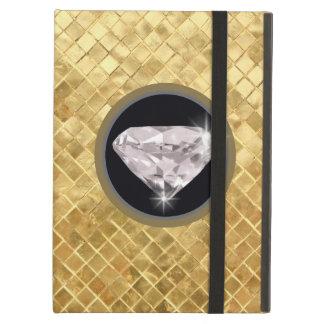 shaped diamonds, golden texture iPad air cases