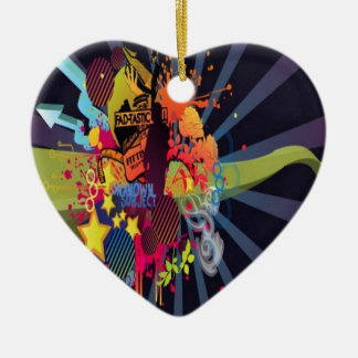 Shapes and typography design ceramic heart decoration