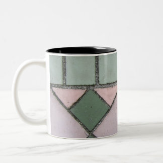 Shapes in Pink and Green Two-Tone Mug