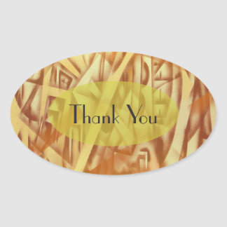 Shapes in Sepia Abstract Design Oval Sticker