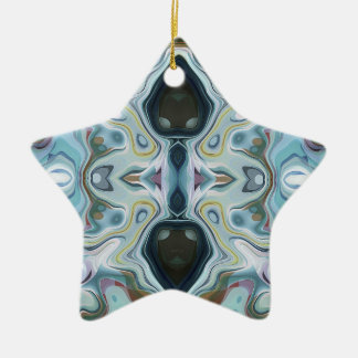 Shapes of Abstract Symmetry Double-Sided Star Ceramic Christmas Ornament