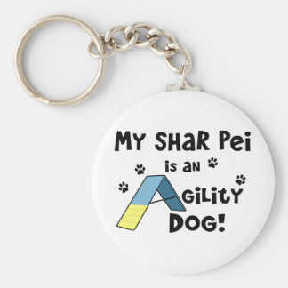 Shar Pei Agility Dog Basic Round Button Key Ring