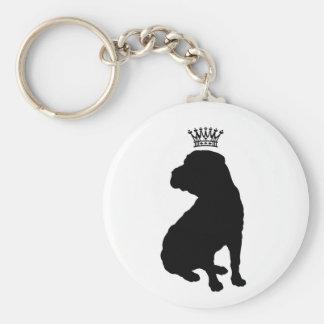 Shar Pei Basic Black Crown Silhouette Key Chain
