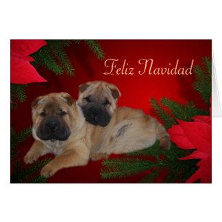 Shar Pei Poinsettia Feliz Navidad Card