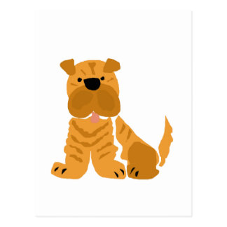 Shar Pei Primitive Art Design Postcard