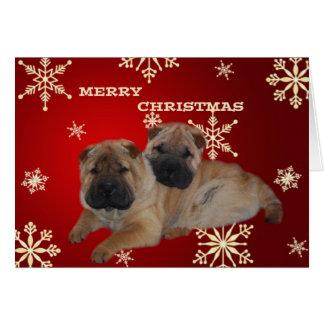 Shar Pei Puppies Snowflake card