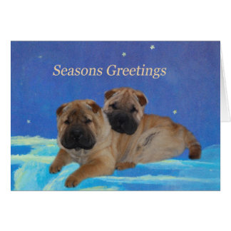 Shar Pei Puppy Seasons Greetings Card