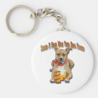 Share A Beer With American Staffordshire Terrier Key Ring