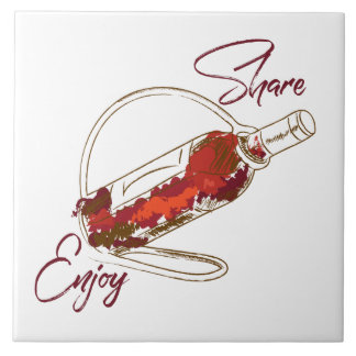 Share & enjoy wine, decorative tile