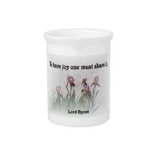 Share Joy Quote with Purple Irises Pitcher
