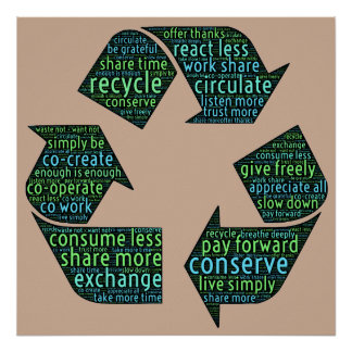 Share, recycle, circulate, exchange, cooperate art poster