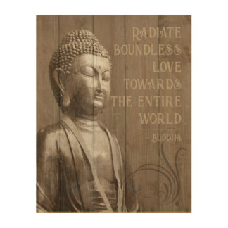 Share the Love Buddhist Wood Effect Buddha Quote Wood Wall Decor