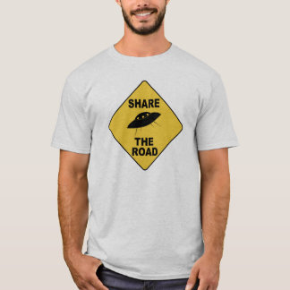 Share the Road sign with UFO T-Shirt